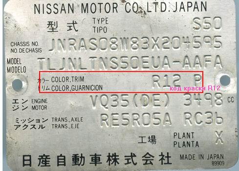 маркировка цвета автомобиля nissan